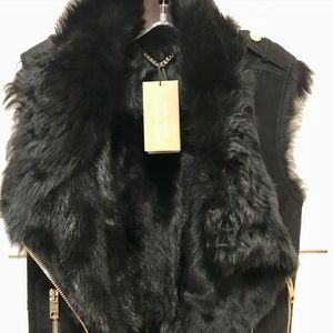 BURBERRY London Shearling Leather Suede Vest/Coat
